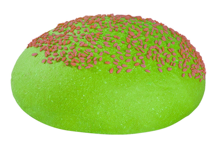 Bun verde con semi rossi